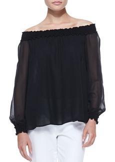 Michael Kors Off-The-Shoulder Silk Top, Black