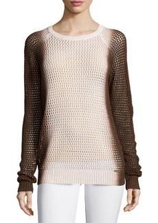 Michael Kors Ombre Open-Knit Crew-Neck Sweater