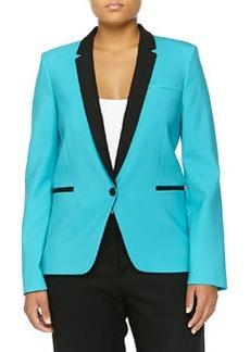 Michael Kors One-Button Tuxedo Jacket, Aqua