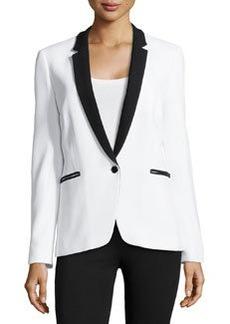 Michael Kors One-Button Tuxedo Jacket, Optic White