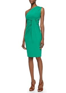 Michael Kors One-Shoulder Jersey Dress, Emerald