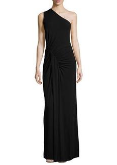 Michael Kors One-Shoulder Ruched Gown, Black