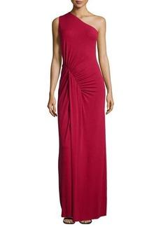 Michael Kors One-Shoulder Ruched Gown, Rose
