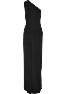 Michael Kors One-shoulder ruched stretch-crepe gown
