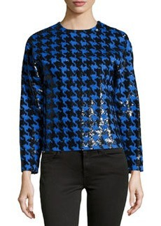 Michael Kors Paillette Houndstooth Long-Sleeve Top, Black/Royal