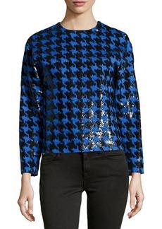 Michael Kors Paillette Houndstooth Long-Sleeve Top, Black/Royal