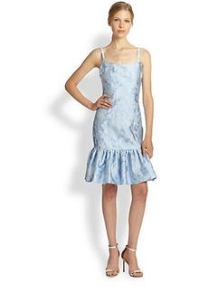 Michael Kors Paisley Jacquard Flounce-Hem Dress