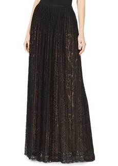 Michael Kors Paisley Lace Pleated Maxi Skirt