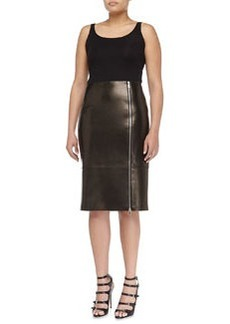 Michael Kors Paneled Zip Leather Pencil Skirt, Black