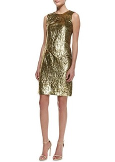Michael Kors Panne Velvet Draped Sheath, Gold