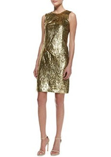 Michael Kors Panne Velvet Draped Sheath, Gold