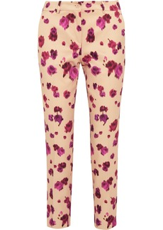 Michael Kors Pansy printed cotton and silk-blend straight-leg pants