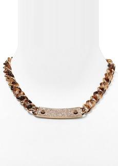 """Michael Kors Pavé Plaque Curb Chain Toggle Necklace, 18"""""""