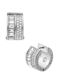 Michael Kors Pave and Baguette Huggie Hoop Earrings