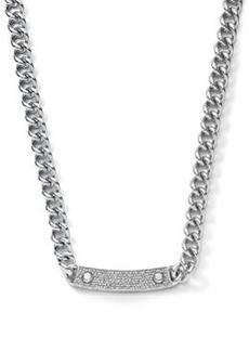 Michael Kors Pave-Bar Chain-Link Necklace, Silver Color