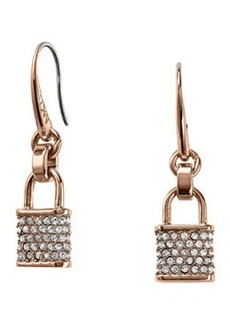 Michael Kors Pave Padlock Drop Earrings, Rose Golden