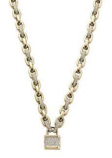 Michael Kors Pave Padlock Toggle Necklace, Golden