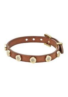 Michael Kors Pave-Stud Leather Wrap Bracelet, Golden