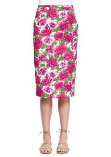 Michael Kors Peony-Print Knee-Length Pencil Skirt, White/Geranium