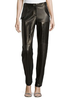 Michael Kors Perforated Leather Track Pants, Black