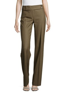 Michael Kors Plaid Flare Trousers, Olive