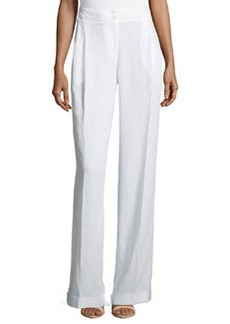 Michael Kors Pleated & Cuffed Wide Leg Pants, Optic White
