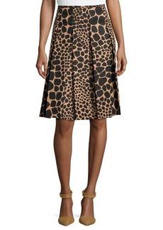 Michael Kors Pleated Animal-Print Skirt, Suntan/Black