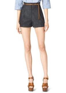 Michael Kors Pleated Denim Shorts, Indigo