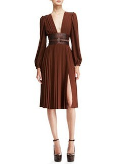 Michael Kors Pleated Dress with Embossed Belt