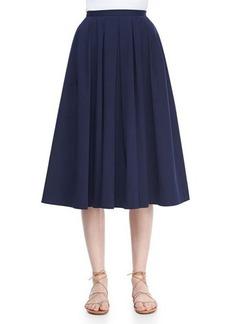 Michael Kors Pleated Full Stretch Cotton Skirt