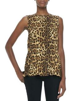 Michael Kors Pleated Leopard-Print Shell  Pleated Leopard-Print Shell