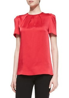 Michael Kors Pleated-Neck Charmeuse Top, Azalea