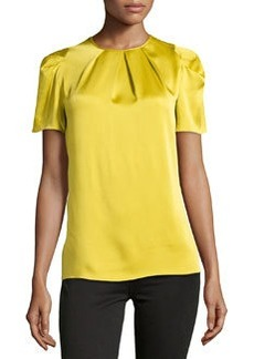 Michael Kors Pleated-Neck Charmeuse Top, Chartreuse