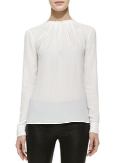 Michael Kors Pleated-Neck Long-Sleeve Shell