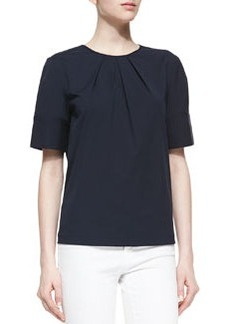 Michael Kors Pleated-Neck Poplin Top, Midnight