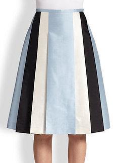 Michael Kors Pleated Silk & Wool Shantung Skirt
