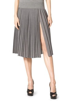 Michael Kors Pleated Slit-Front Wool Skirt, Banker Melange