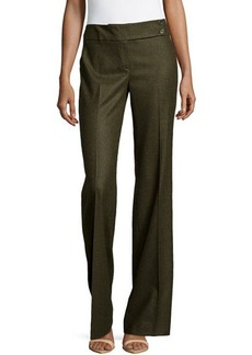 Michael Kors Pleated Wide-Leg Trousers, Olive
