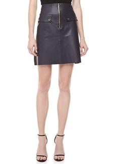 Michael Kors Plonge Leather A-line Zip-Front Skirt