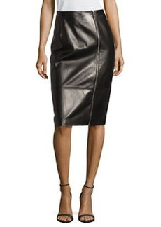 Michael Kors Plonge Leather Zip-Front Pencil Skirt, Black