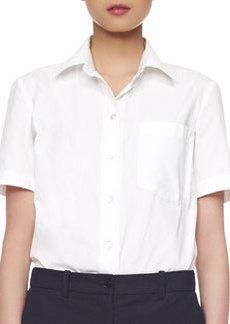 Michael Kors Poplin Cotton Short-Sleeve Blouse