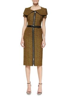 Michael Kors Portrait-Collar Tweed Sheath Dress