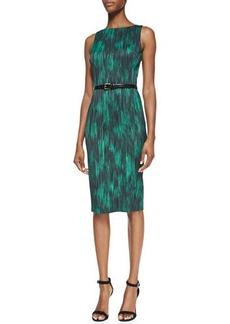 Michael Kors Printed Belted Sheath Dress, Emerald