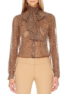 Michael Kors Printed Bow-Neck Blouse