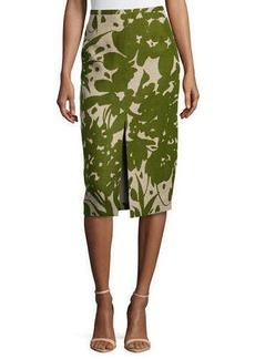 Michael Kors Printed Front-Slit Pencil Skirt, Hemp/Grass