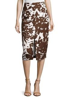 Michael Kors Printed Front-Slit Pencil Skirt, Optic White/Nutmeg