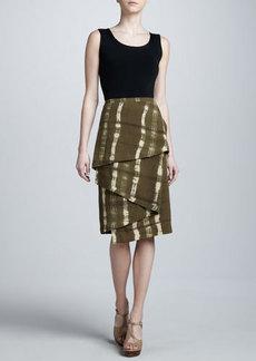 Michael Kors Printed Linen Blanket Skirt