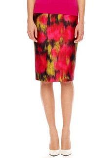 Michael Kors Printed Shantung Pencil Skirt