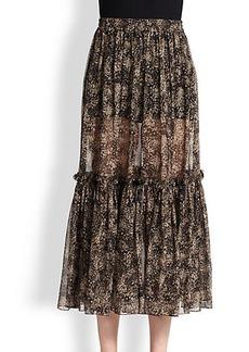 Michael Kors Printed Silk Chiffon Peasant Skirt
