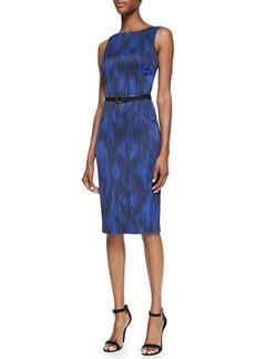 Michael Kors Printed Stretch Sheath Dress with Belt, Sapphire